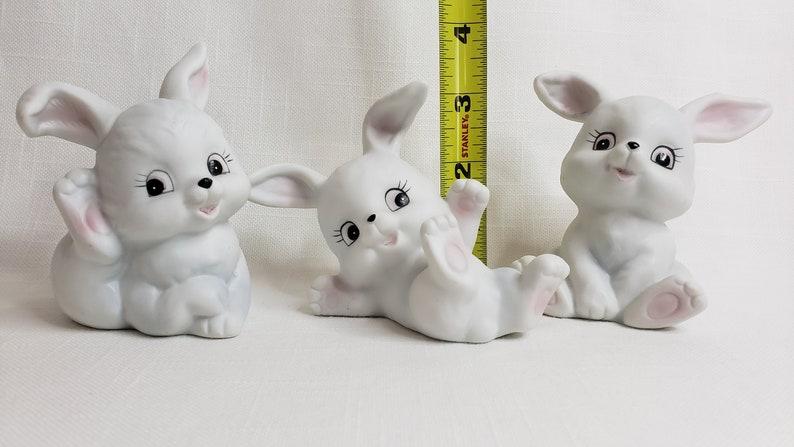Set of 3 White Bisque Ceramic Bunnies Homco 1458 Vintage Bunnies