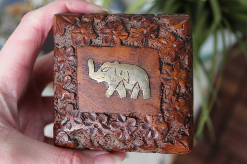 Wooden Elephant Box Small Square Box Brass Elephant engraved Square Trinket Box Hand Carved Indian Box Lined with Red Velvet