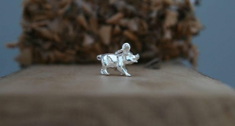 925 Sterling Silver Solid Pig Pendant Necklace Chinese Zodiac. Gift Ideas Animal Lovers 3D Pig Pendant