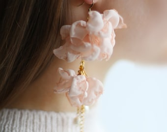 Pale pink chiffon fabric lightweight statement earrings in multiple lengths
