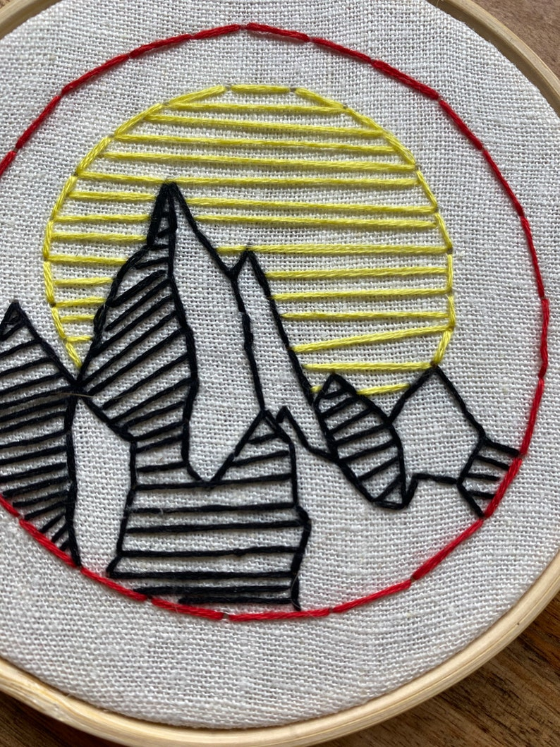 4\u201d Mountain Hand Embroidery