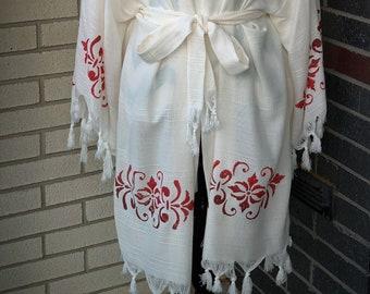 Handmade White Kimono Robe for Women One Size,  Swimwear for Women, Swimsuit Coverup, Sundress, Loungewear