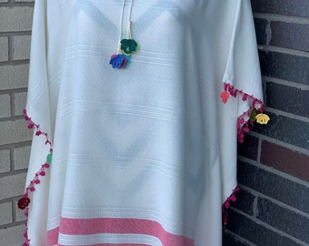 Embroidered White Swimsuit Coverup for Women One Size | Swimwear for Women, Beachwear, Poncho, Tunic, Sundress, Loungewear, Summer Dress