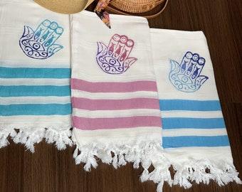 Handmade White Bamboo Cotton Towel | Beach Towel - Pink Turkish Beach Towel Large - Bath Towel - Beach Cover Up