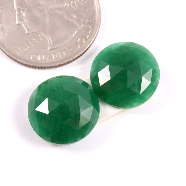13.60 Carat Size 13x4 MM Natural Emerald Rose Cut Slice Pair Excellent Cutting Size 14x4 MM AAA Quality