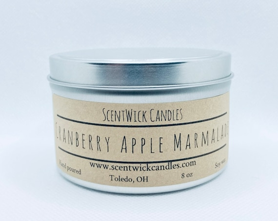 Cranberry Apple Marmalade scented 100% soy wax handmade tin 8 oz candle