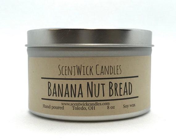 Banana Nut Bread scented 100% soy wax handmade tin jar 8oz candle