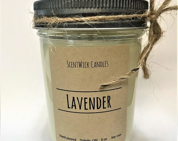 Lavender scented 100% soy wax handmade glass jelly jar 8 oz candle