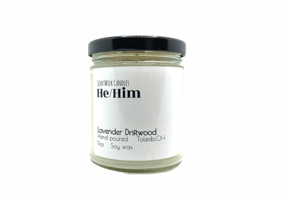 He/Him Pronouns Pride Candle 100% natural soy wax 9oz glass