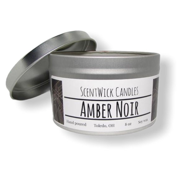Amber Noir scented 100% soy wax handmade tin 8 oz candle