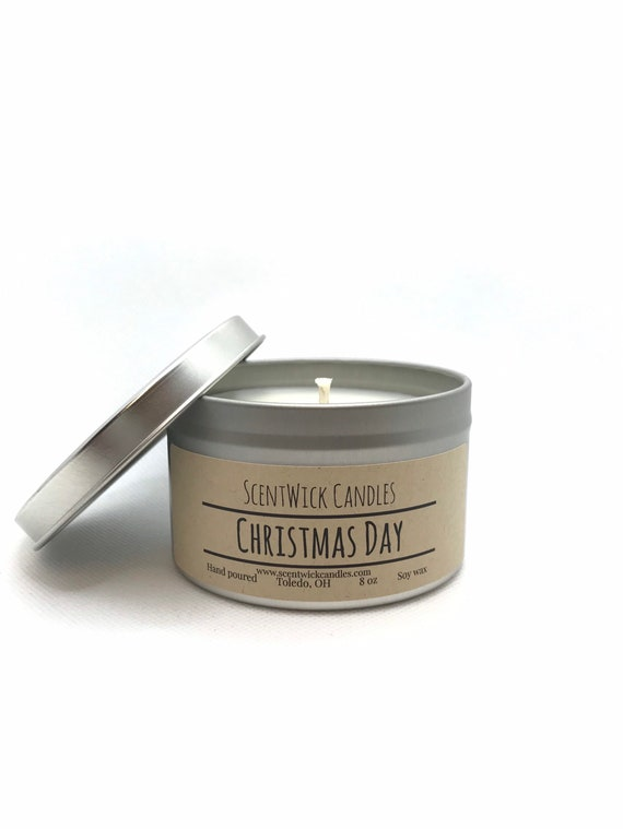 Christmas Day scented 100% soy wax handmade tin jar 8oz candle