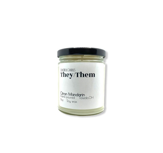 They/Them Pronouns Pride Candle 100% soy wax 9oz glass