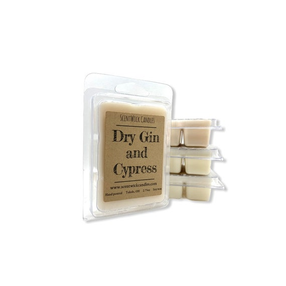 Dry Gin and Cypress scented 100% soy wax melt cubes tarts