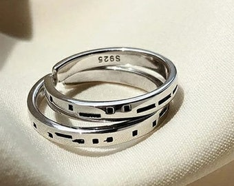 """Silver Couple Promise Ring set, Adjustable Sterling Silver Morse code """"Love U Forever"""" promise rings, Anniversary Ring, Pride Gift"""
