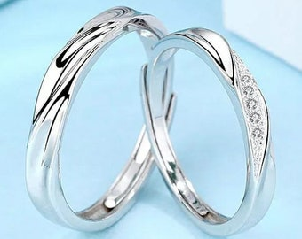 Silver Couple Promise Band Zircon Ring set, Adjustable Sterling Silver his and hers rings, Wedding Anniversary Ring, Christmas Gift