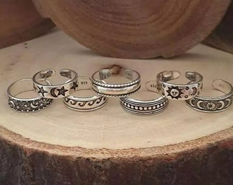 7 and 4 Pcs Bohemian Silver Plated Toe Ring Set, Adjustable Silver Midi Band Dainty Stacking Beach jewelry, Boho Mothers Day gift for her