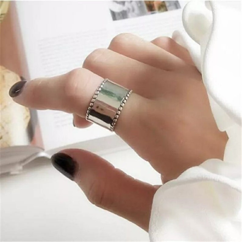 Thick Cigar Band for her Antique Large Finger statement Ring for women Thumb Resizable Jewelry Adjustable Wide Band Silver Cuff Ring