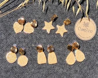 Bohemian Earrings, Handwoven Earrings, Sustainable Earrings, Rattan Straw Earrings
