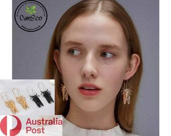 Cicada Earrings, Handmade Giant Cicada Earrings, Cicada Charm Drop Earrings, Australian Seller