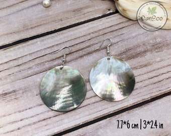Mother of Pearl Earrings, Round Shell Earrings, Disc Drop Earrings, Bohemian Jewelry, Luxury Earrings, Australian Made, Ivory Shell Earrings