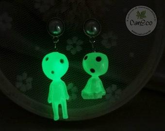 S925 Silver, Glow In The Dark Earrings, Cartoon Gosh Earrings, Resin Earrings, Handmade Earrings, Australia Made,