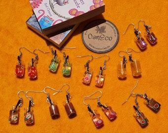 Fruit Tea Earrings, Lovely bottle earrings, Summer earrings, 3D Resin Fruit Juice Bottle Earrings, gifts for her, Australian made