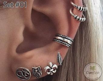 Boho earrings studs, Stud Silver Earring sets, Stud Gold earrings, Set of 7 pieces Boho earrings, Bohemian Jewellery, Vintage Earrings