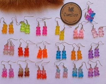 Gummy bear earrings, resin bear earrings, cute earrings, colourful bear earrings, dangle earrings, gifts for her, S925 Silver