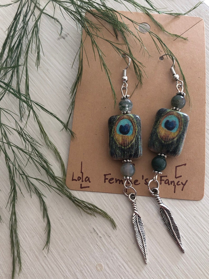 Green Beaded Drop and Dangle Earrings Peacock Silver Feather