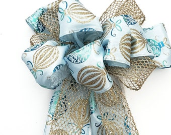 Large blue, teal & gold net Christmas bow for wreaths, lantern, swag, garland, tree topper, sign with ornaments pattern. Front door decor