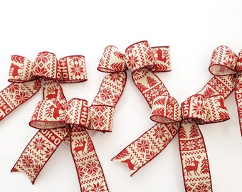 Set of 5 small red & beige Nordic sweater Christmas ornament bows for wreath, tree or lantern with reindeer, pine trees. Bow for gift box