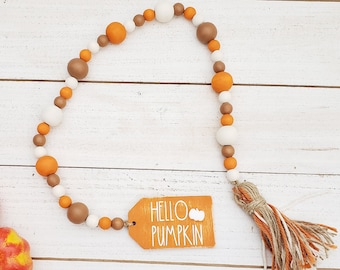 """26"""" Hello Pumpkin Wooden Bead Garland with Yarn Tassel for Autumn Tiered Tray Decorations, Small Fall Decor for Tabletop, Thanksgiving Decor"""