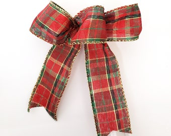Sets of 1, 3, 5 or 10 small classic red and green tartan plaid Christmas bows for wreaths, lantern, tree topper, box. Rustic scottish decor