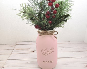 Single quart Blush Pink painted Mason jars with holiday greens, red berries for Farmhouse Christmas dining table centerpiece party office