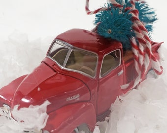 Mason Jar water less snow globe with vintage red Chevrolet pick up truck toy car model & tree. Chevy classic car gift for men who like cars