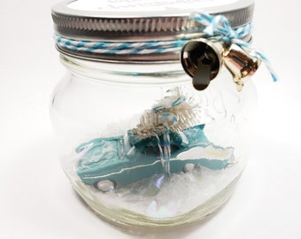 Mason Jar water less snow globe with vintage turquoise blue Chevrolet Belair toy car & tree. Chevy classic car gift for men who like cars