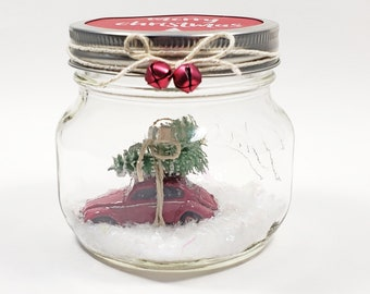 Mason Jar water less snow globe w vintage Red VW Beetle toy car model & tree. Volkswagen classic car gift for men Christmas office decor