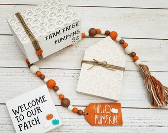 """Fall Tiered Tray Decor Set w/26"""" Beaded Garland w/Hello Pumpkin Tag, Faux Book Stack, Welcome to Our Patch Sign & Freestanding House Shape"""
