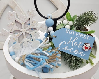 """Snow Theme Winter Tiered Tray Decorations Set: 26"""" Hot Cocoa Wooden Bead Garland with Yarn Tassel & Confetti Filled Snowflake Shaker w/Stand"""