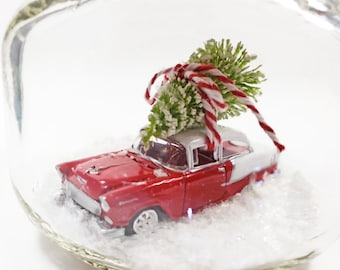 Mason Jar water less snow globe with vintage red Chevrolet Belair toy car model & tree. Chevy classic car gift for men who like cars
