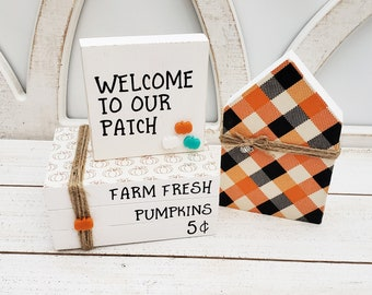 Farm Fresh Pumpkins Faux Book Stack w/Welcome to Our Patch Sign & Orange, Black and White Plaid Wood House for Fall Tiered Tray Decor Bundle
