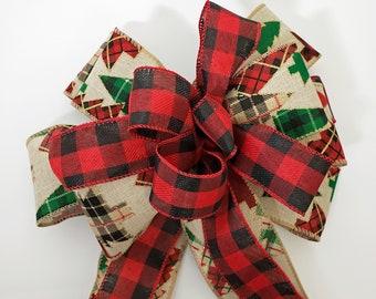 Big red buffalo plaid & pine trees Christmas bow for holiday wreaths, lanterns, garlands, tree topper. Handmade bow rustic farmhouse decor