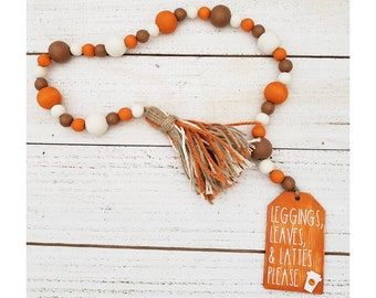 """26"""" Wooden Bead Garland with Yarn Tassel & Leggings Leaves and Lattes Please Saying for Autumn Tiered Tray Decorations or Small Fall Decor"""