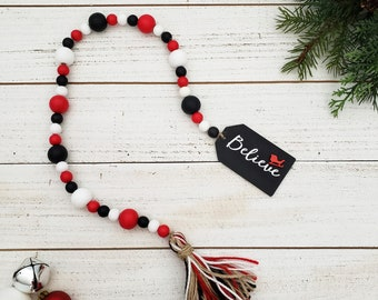 """26"""" Believe Wooden Bead Garland with Yarn Tassel for Red, Black and White Christmas Tiered Tray Decorations, 3D Santa Sleigh Holiday Decor"""