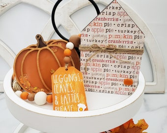 """26"""" Wood Bead Garland w/Leggings Leaves Lattes Please, Thanksgiving Food House, Confetti Filled Pumpkin Shaker for Fall Tiered Tray Decor"""