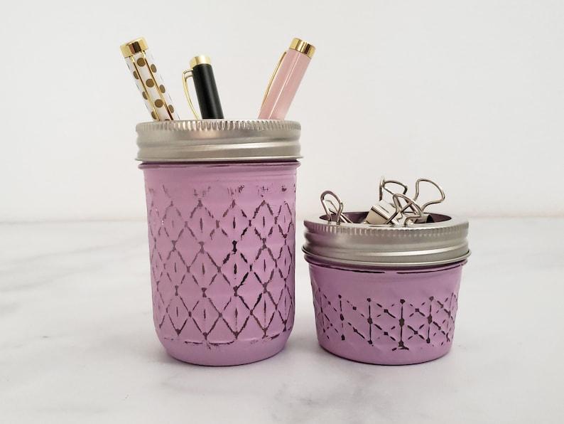 Lavender Mason Jar Office Decor Set Rustic Desk Accessories image 1