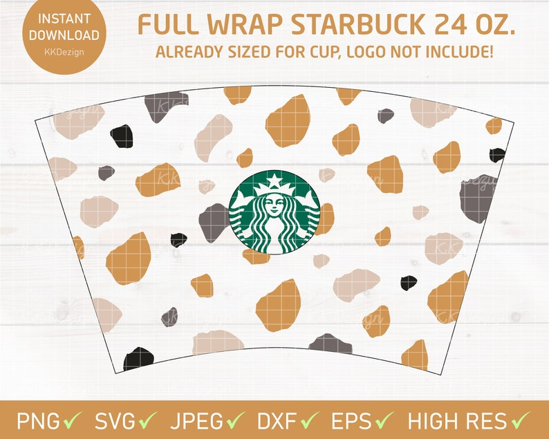 Gold Abstract Full Wrap Starbucks Cold Venti Size Svg Digital Etsy