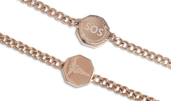 Unisex Medi Safe SOS Gold bracelet Talisman Caduceus Medic ID Medical alert