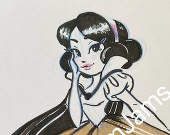 Original Artwork -  Snow White golden gown