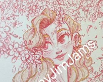 Original Artwork - Girl with gold highlights